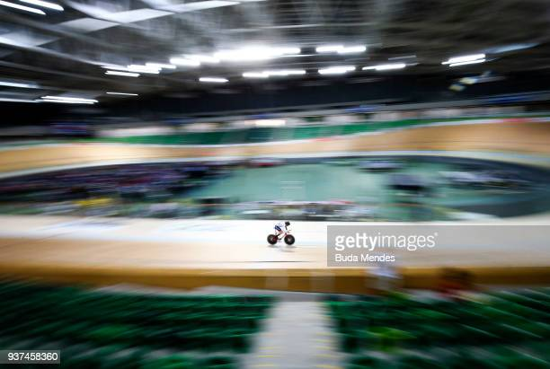 Jaco Van Gass of Great Britain competes in the Men's C4 Individual Pursuit on day 03 of the Paracycling World Championships at Rio Olympic Velodrome...