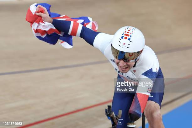 Jaco van Gass of Team Great Britain celebrates winning the gold medal in the Track Cycling Men's C3 3000m Individual Pursuit Gold Medal race on day 2...