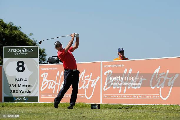Jaco van Zyl of South Africa hits his tee shot on the 8th hole during Day One of the Africa Open at East London Golf Club on February 14 2013 in East...