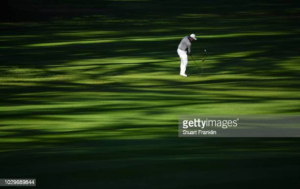 Jaco Van Zyl of South Africa plays a shot during the final round of the Omega European Masters at CranssurSierre Golf Club on September 9 2018 in...