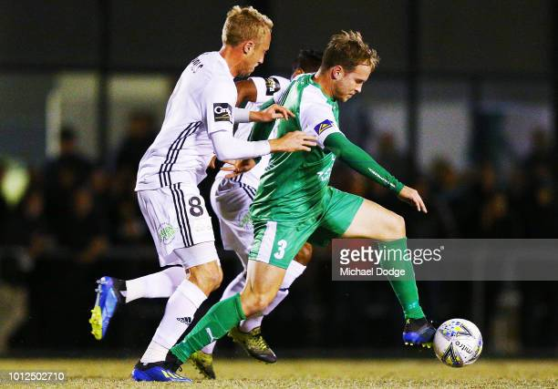 Jacob ALEXANDER of Bentleigh competes for the ball against Mitchell NICHOLS of the Phoenix during the FFA Cup round of 32 match between Bentleigh...