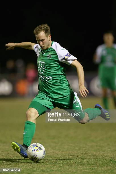 Jacob Alexander of Bentleigh Greens SC kicks during the FFA Cup semifinal match between Bentleigh Greens SC and Adelaide United at Kingston Heath...