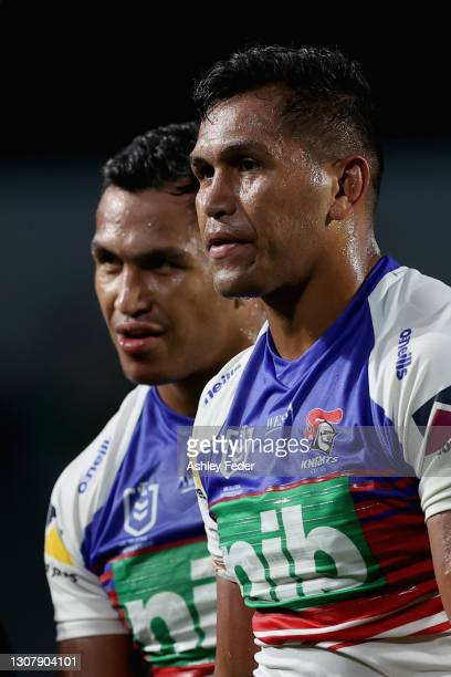 Jacob and Daniel Saifiti of the Knights after the game during the round two NRL match between the New Zealand Warriors and the Newcastle Knights at...