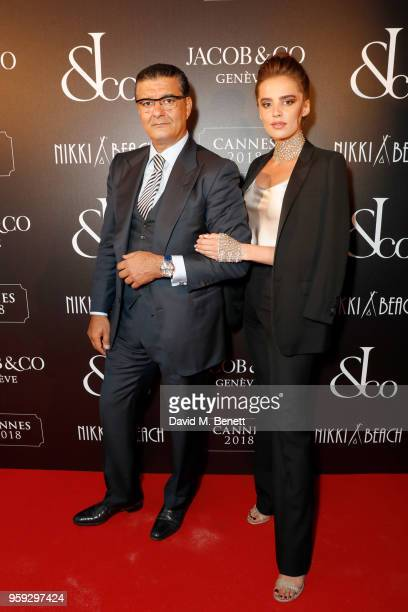 Jacob Arabo and Anna Andreas attend the Jacob Co Cannes 2018 party at Nikki Beach on May 16 2018 in Cannes France