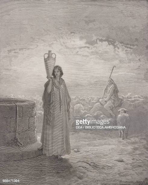 Jacob at the well engraving by Gustave Dore from The Holy Scriptures containing the Old and New Testaments Translated from The Latin Vulgate by...
