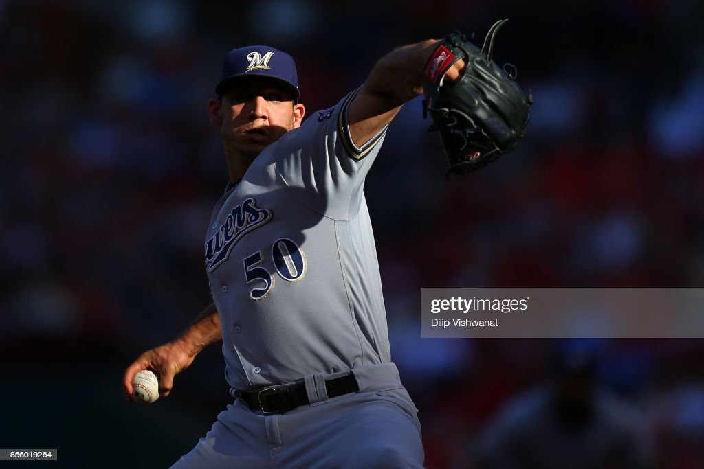 Jacob Barnes #50 of the Milwaukee Brewers delivers a pitch against the St. Louis Cardinals in the fourth inning at Busch Stadium on September 30, 2017 in St. Louis, Missouri.