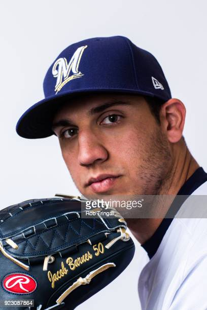 Jacob Barnes of the Milwaukee Brewers poses for a portrait during Photo Day at the Milwaukee Brewers Spring Training Complex on February 22 2018 in...