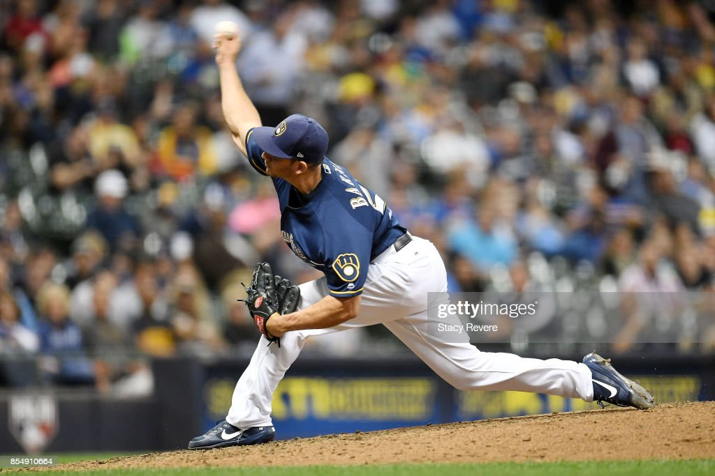 Jacob Barnes #50 of the Milwaukee Brewers throws a pitch during the fifth inning of a game against the Cincinnati Reds at Miller Park on September 27, 2017 in Milwaukee, Wisconsin.