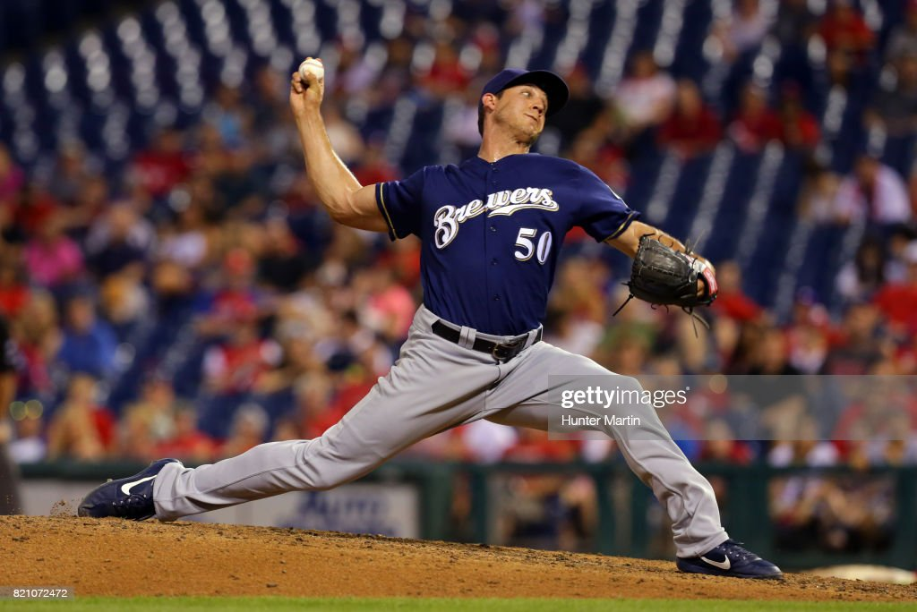 Jacob Barnes #50 of the Milwaukee Brewers throws a pitch in the eighth inning during a game against the Philadelphia Phillies at Citizens Bank Park on July 22, 2017 in Philadelphia, Pennsylvania. The Brewers won 9-8.
