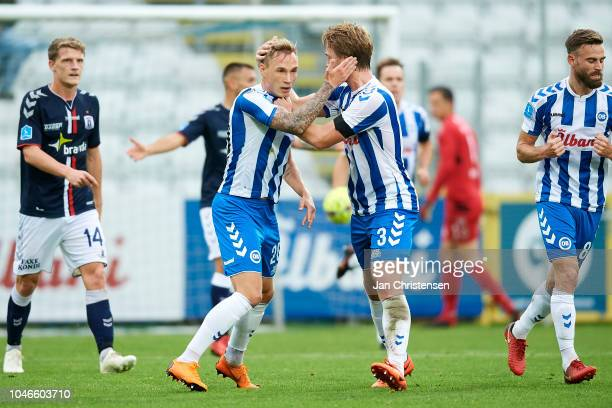 Jacob Barrett Laursen of OB Odense and Alexander Ludwig of OB Odense celebrating the 12 goal from Jacob Barrett Laursen during the Danish Superliga...