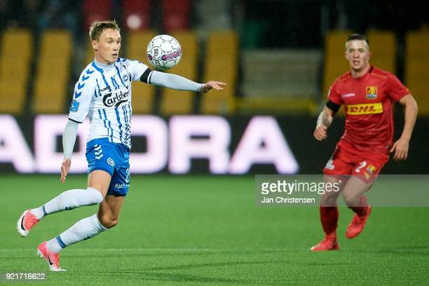 Jacob Barrett Laursen of OB Odense controls the ball during the Danish Alka Superliga match between FC Nordsjalland and OB Odense at Right to Dream...