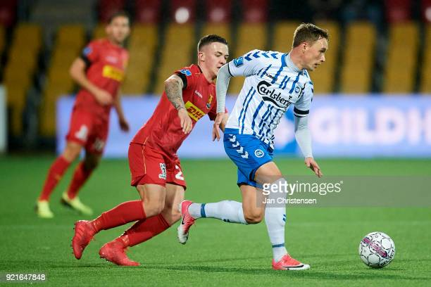 Jacob Barrett Laursen of OB Odense in action during the Danish Alka Superliga match between FC Nordsjalland and OB Odense at Right to Dream Park on...