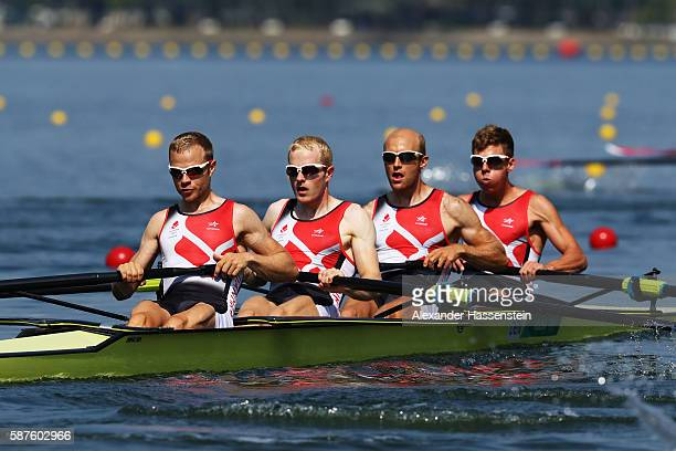 Jacob Barsoe of Denmark Jacob Larsen of Denmark Kasper Joergensen of Denmark and Morten Joergensen of Denmark compete in the Lightweight Men's Four...