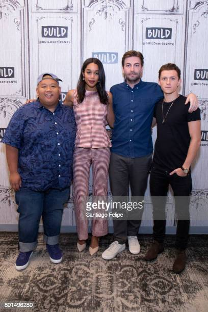 Jacob Batalon Laura Harrier Jon Watts and Tom Halland attend Build Presents to discuss the film SpiderMan Homecoming at Build Studio on June 26 2017...