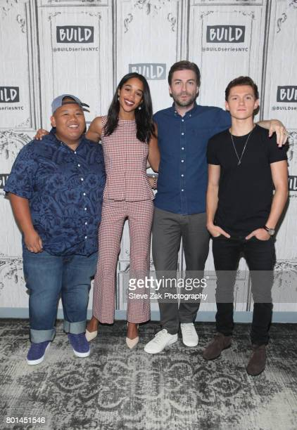 Jacob Batalon Laura Harrier Tom Holland and Jon Watts attend Build Series to discuss their new movie SpiderMan Homecoming at Build Studio on June 26...
