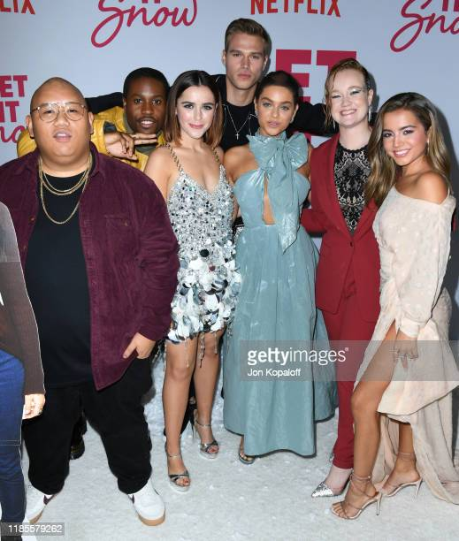 Jacob Batalon Shameik Moore Kiernan Shipka Matthew Noszka Odeya Rush Liv Hewson and Isabela Merced attend the LA premiere of Netflix's Let It Snow at...