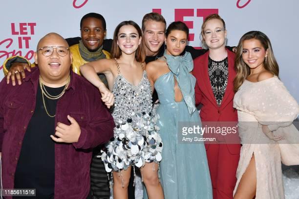 Jacob Batalon Shameik Moore Kiernan Shipka Matthew Noszka Odeya Rush Liv Hewson and Isabela Moner attend the premiere of Netflix's Let It Snow at...