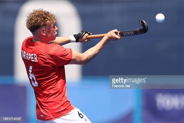 Jacob Benjamin Draper of Team Great Britain controls the ball during the Men's Preliminary Pool B match between Netherlands and Great Britain on day...