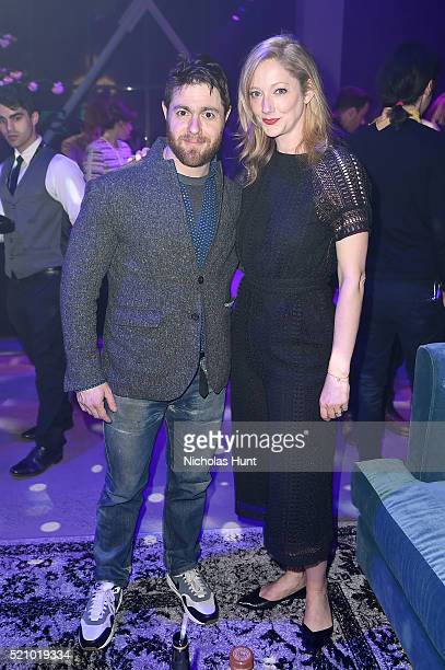 Jacob Bernstein and Judy Greer attend the 2016 Tribeca Film Festival Opening Night Party at Spring Studios on April 13 2016 in New York City