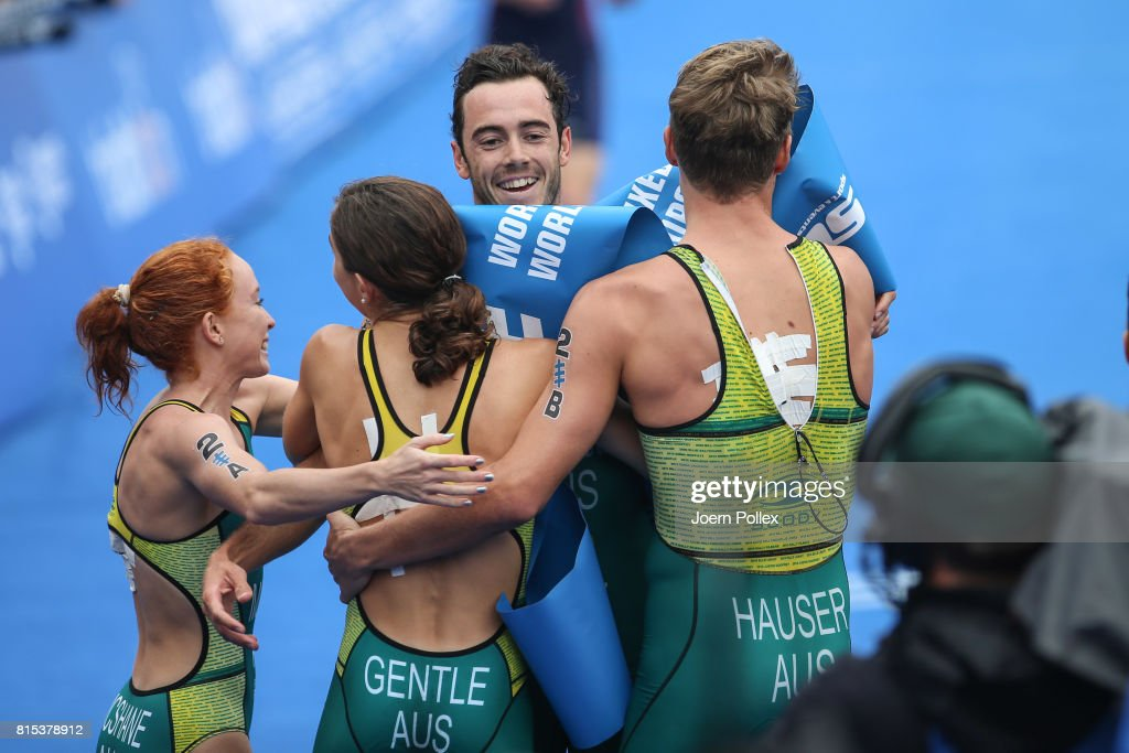 Jacob Birtwhistle of Autralia celebrates with his team mates after winning the elite mixed relay race at the Hamburg Wasser ITU World Triathlon Championships 2017 on July 16, 2017 in Hamburg, Germany.