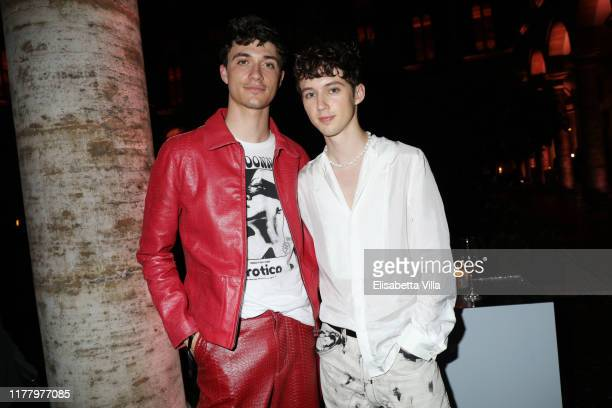 Jacob Bixenman and Troye Sivan attend 'Giambattista Valli Loves HM Cocktail Dinatorie' on October 24 2019 in Rome Italy