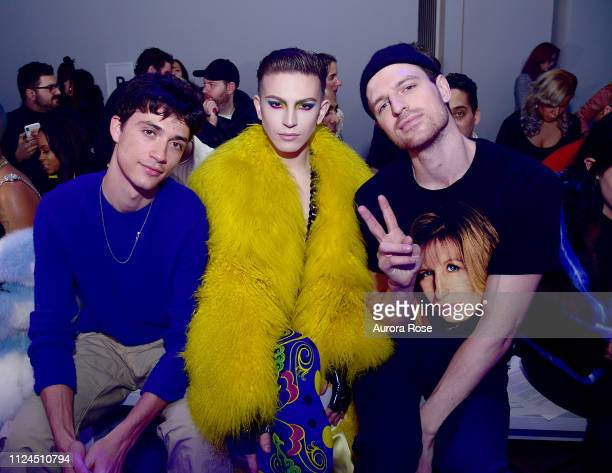 Jacob Bixenman Aquaria and Milk Attend the Christian Cowan Runway Show at Spring Studios on February 12 2019 in New York City