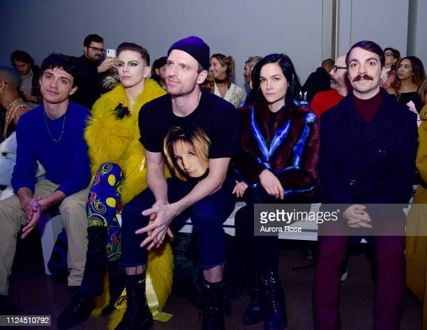 Jacob Bixenman Aquaria Milk Leigh Lezark and Kirby Jenner Attend the Christian Cowan Runway Show at Spring Studios on February 12 2019 in New York...