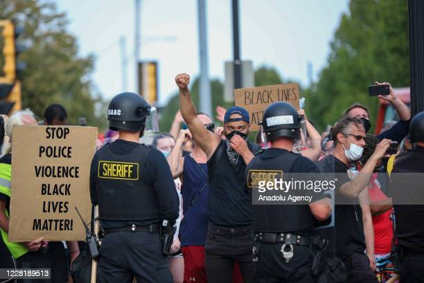 Jacob Blake protesters gathered in front of the courthouse in Kenosha Wisconsin United States on August 24 2020 A police shooting in the US state of...
