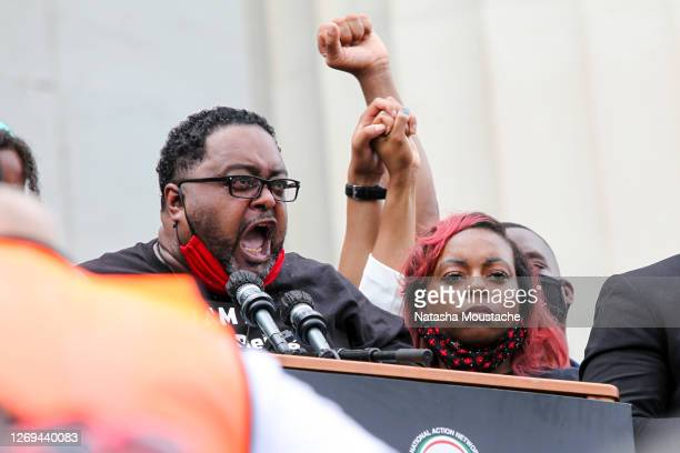 Jacob Blake Sr., father of Jacob Blake, speaks to the crowd at the Lincoln Memorial during the Commitment March on August 28, 2020 in Washington, DC....