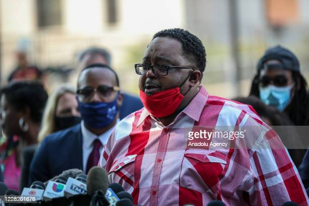 Jacob Blakeâs father Jacob Blake speaks during the press conference in front of the Kenosha County Courthouse in Kenosha, Wisconsin, United States on...
