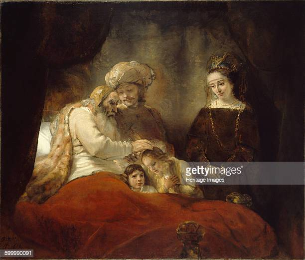 Jacob Blessing Ephraim and Manasseh 1656 Found in the collection of Staatliche Museen Kassel Artist Rembrandt van Rhijn