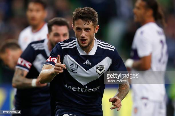 Jacob Brimmer of the Victory celebrates after scoring a goal during the A-League match between the Melbourne Victory and the Perth Glory at AAMI...