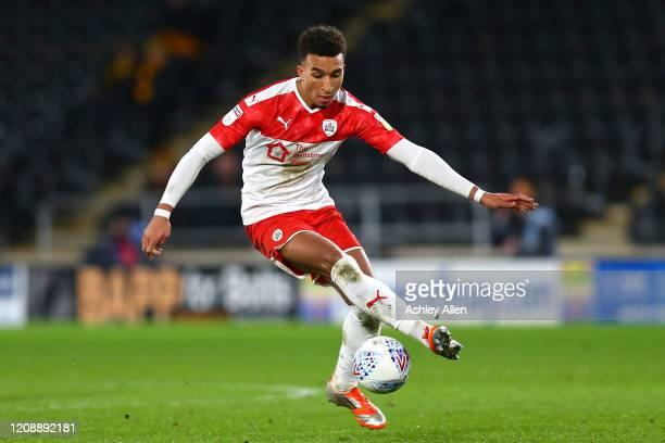 Jacob Brown of Barnsley FC controls the ball during the Sky Bet Championship match between Hull City and Barnsley at KCOM Stadium on February 26 2020...
