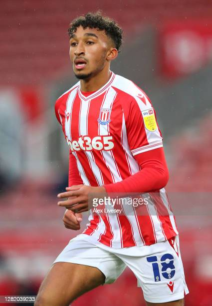 Jacob Brown of Stoke City looks on during the Sky Bet Championship match between Stoke City and Brentford at Bet365 Stadium on October 24 2020 in...