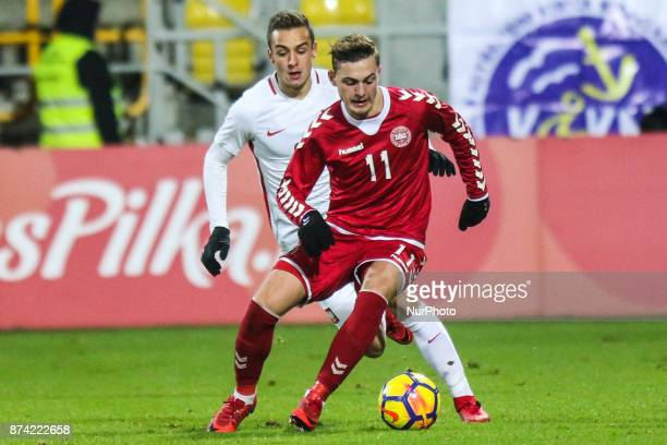 Jacob Bruun Larsen David Kopacz during UEFA U21 Championship Qualifier match between Poland and Denmark on November 14 2017 in Gdynia Poland
