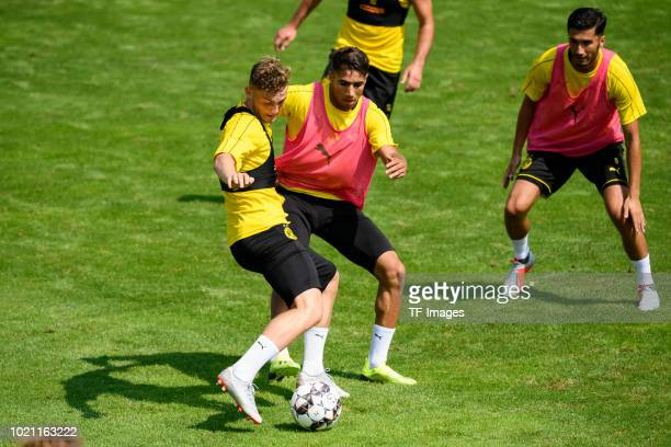 Jacob Bruun Larsen of Borussia Dortmund and Achraf Hakimi of Borussia Dortmund battle for the ball during the Borussia Dortmund training camp on...