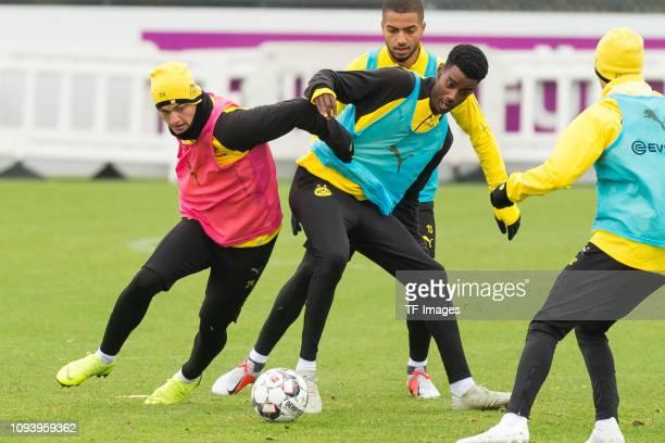 Jacob Bruun Larsen of Borussia Dortmund and Alexander Isak of Borussia Dortmund battle for the ball during a training session at BVB training center...