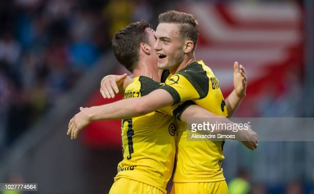 Jacob Bruun Larsen of Borussia Dortmund celebrates scoring the goal to the 03 during a friendly match against VfL Osnabrueck at the Stadion an der...