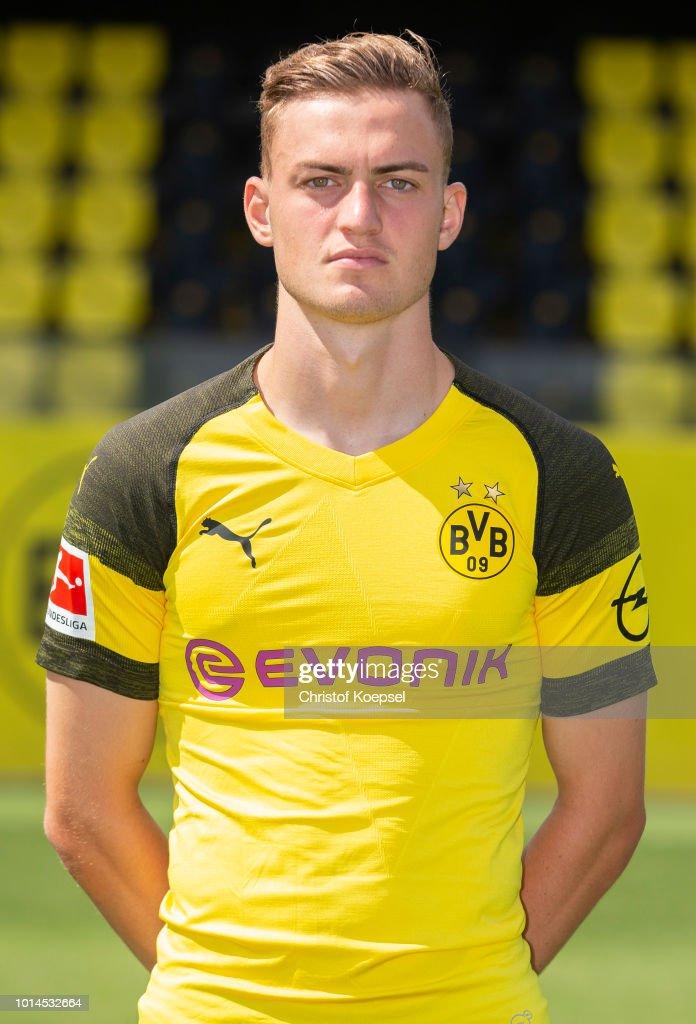 Jacob Bruun Larsen of Borussia Dortmund looks on during the team presentation at Training Ground Brackel on August 10, 2018 in Dortmund, Germany.