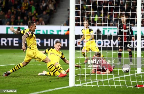Jacob Bruun Larsen of Borussia Dortmund scores his sides opening goal to make the score 21 during the Bundesliga match between Bayer 04 Leverkusen...