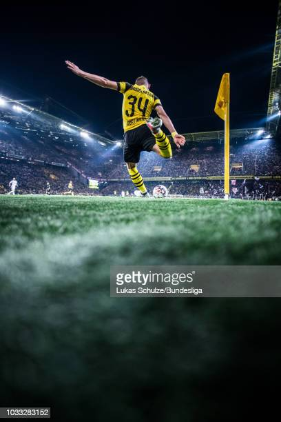 Jacob Bruun Larsen of Dortmund kicks a corner during the Bundesliga match between Borussia Dortmund and Eintracht Frankfurt at Signal Iduna Park on...