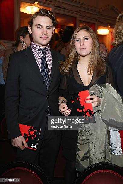 Jacob Burda and Elisabeth Burda attend the 'GeruechteGeruechte' premiere at Theater am Kurfuerstendamm on January 13 2013 in Berlin Germany