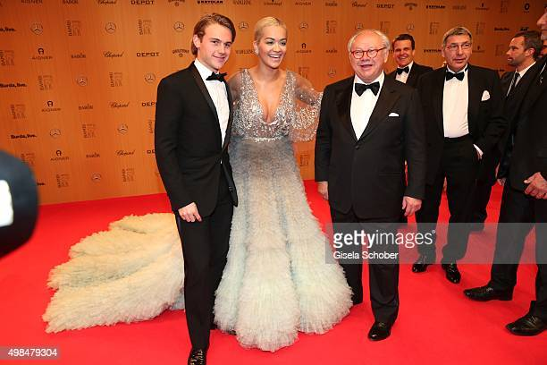 Jacob Burda Rita Ora and Dr Hubert Burda during the Bambi Awards 2015 at Stage Theater on November 12 2015 in Berlin Germany