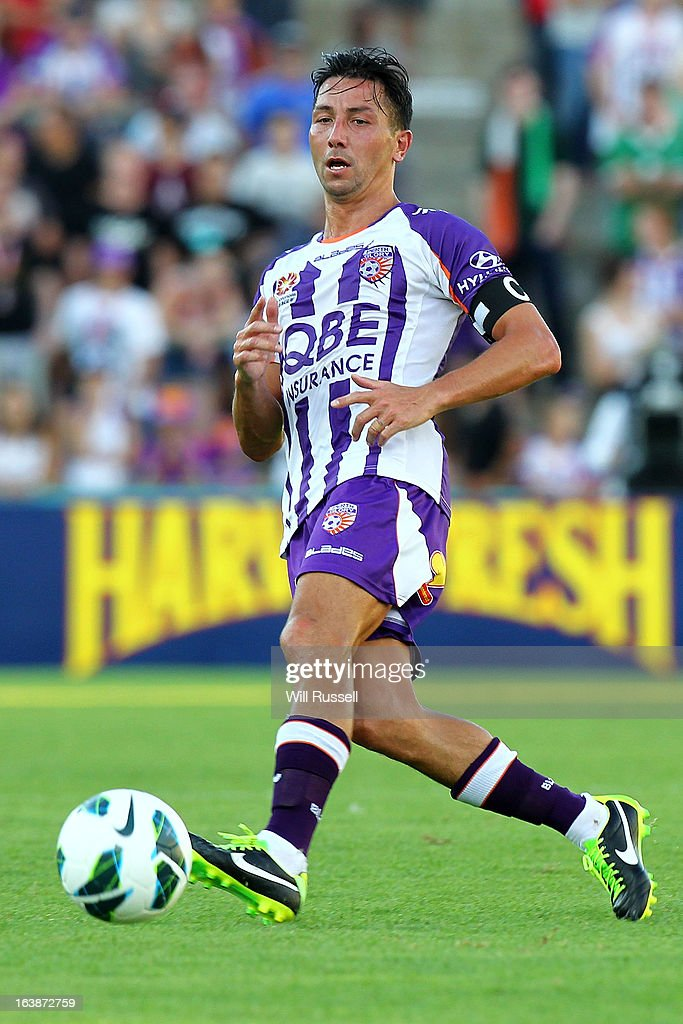 Jacob Burns of the Perth Glory controls the ball during the round 25 A-League match between the Perth Glory and the Wellington Phoenix at nib Stadium on March 17, 2013 in Perth, Australia.