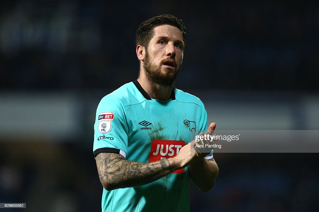 Jacob Butterfield of Derby County applauds supporters during the Sky Bet Championship match between Queens Park Rangers and Derby County at Loftus Road on December 14, 2016 in London, England.
