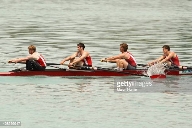 Jacob Cannell, Alex Pattrick, James Mountier and Alexander Myers of Avon during the mens novice coxed four at the 2013 Meridian Otago Championships...