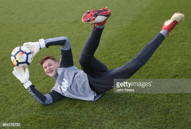 Jacob Carney of Manchester United U18s in action during an U18s training session at Aon Training Complex on May 2 2018 in Manchester England