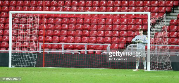 Jacob Carney of Sunderland during the Papa John's Trophy match between Sunderland and Manchester United at Stadium of Light on October 13, 2021 in...