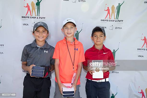 Jacob Castro first place Brody Fox second place and Jorge Molinar third place overall in the boys 79 at the Drive Chip and Putt Regional Qualifier at...