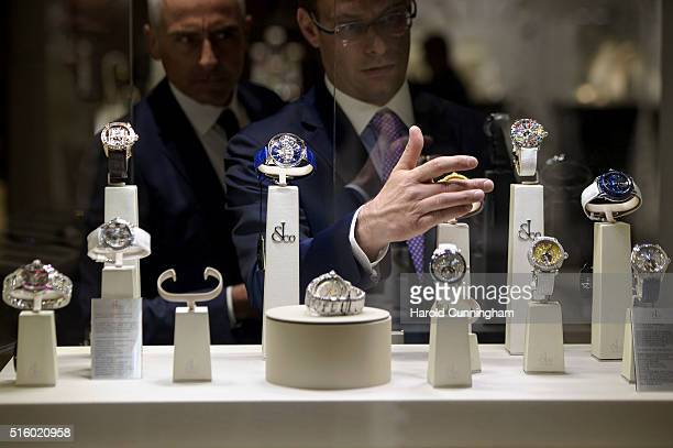 Jacob Co watches displays are prepared during Baselworld on March 16 2016 in Basel Switzerland Held annually Baselworld is the most important watch...